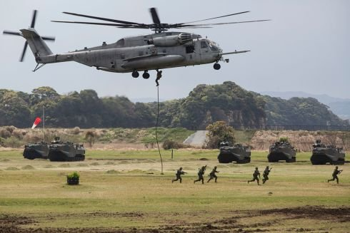 Japan, US, France hold first joint drills on Japanese land