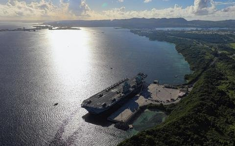 HMS Queen Elizabeth stops in Guam for a second time during maiden deployment