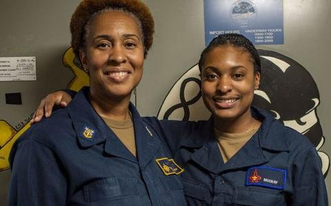 'Just smiling the whole way': Navy mom, daughter get rare chance to serve on same ship
