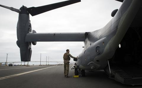 Air Force Ospreys draw a crowd after precautionary landing in northern Japan