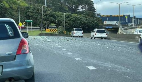 Long delays after broken glass strewn across State Highway 2 north of Wellington