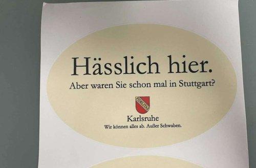 Sticheleien mit Sticker: Karlsruher nimmt Stuttgart aufs Korn