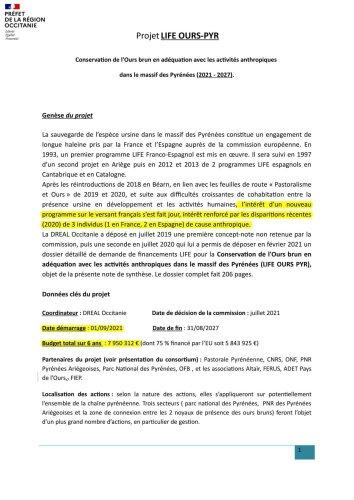 Ours des Pyrénées : un nouveau projet de l'Europe pour 2021-2027