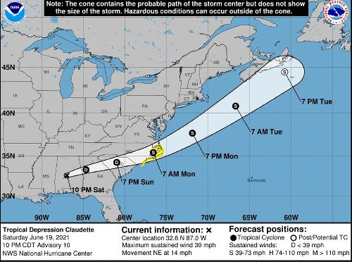 At least 12 dead as Claudette lashes the Southeast. Forecasters expect it will once again become a tropical storm.