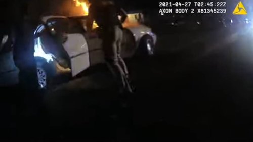 Watch officers race to rescue woman from burning car after fiery crash in Georgia