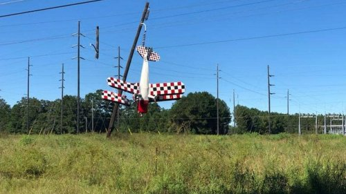 Plane dangles nose-down from power line after crashing in South Georgia, photos show