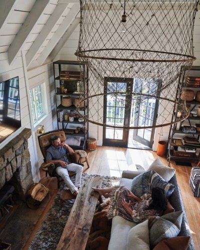 Small Lake Arrowhead Cabin Decorated With Vintage Finds - Sunset Magazine