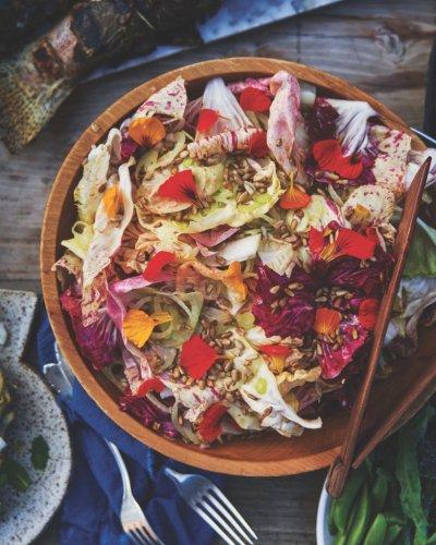 Garden Lettuces with Shaved Fennel, Sunflower Seeds, and Scribe Verjus Vinaigrette Recipe - Sunset Magazine