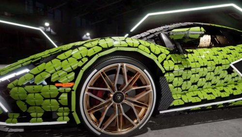 LEGO designers built a sleek, life-sized Lamborghini from more than 400,000 pieces