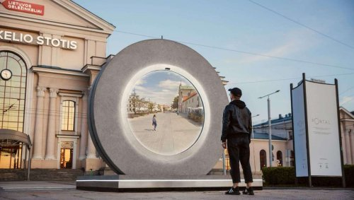 Almost a real-life Stargate: Sci-fi portal gives two-way window into cities hundreds of miles apart