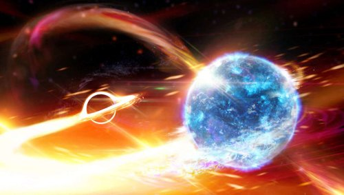 Spacetime shakes: For the first time, astronomers see a black hole eating a neutron star