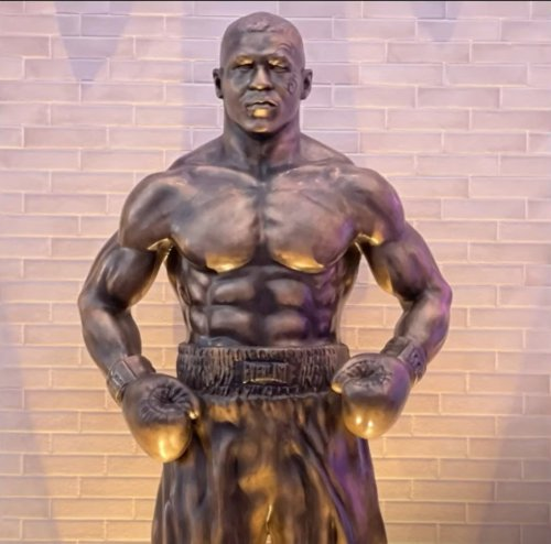 Mike Tyson unveils giant bronze statue of himself in Las Vegas featuring tribal tattoo and it puts Cristiano Ronaldo and Mohamed Salah to shame