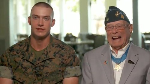 WWII Marine Medal of Honor recipient welcomes great-grandson to the Corps
