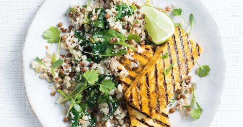 Grilled korma tofu steaks with lentil and spinach cauliflower rice