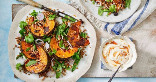 Tandoori-rubbed pumpkin wedges with lentil and herb salad