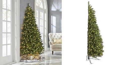 Half Christmas Trees Lay Flat Against a Wall and Make Decorating SO Much Simpler