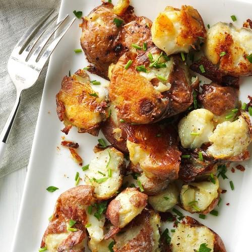 Crispy Smashed Herbed Potatoes