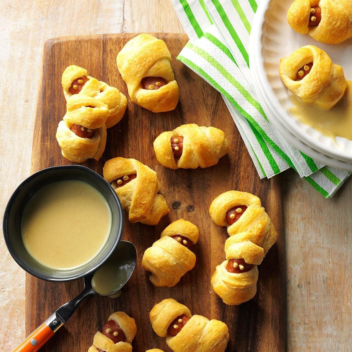 Hot Dog Mummies with Honey Mustard Dip