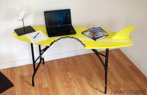 Surfboard Shark Bite Writing Desk: You're Gonna Need a Bigger Office