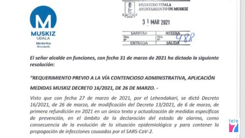 Muskiz presenta un requerimiento previo a la vía judicial para que se revise su confinamiento