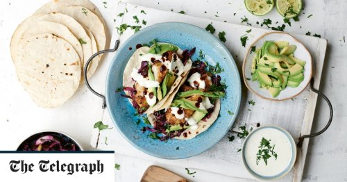 BBQ Cajun fish tacos with slaw and lime cream recipe