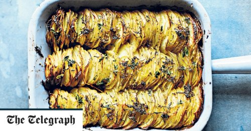 Crispy sliced and stacked lemon-roasted potatoes recipe