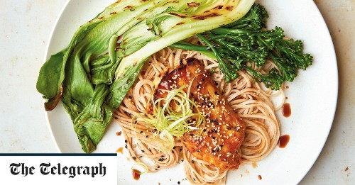 Miso and soy marinated cod with pak choi, broccoli and noodles recipe