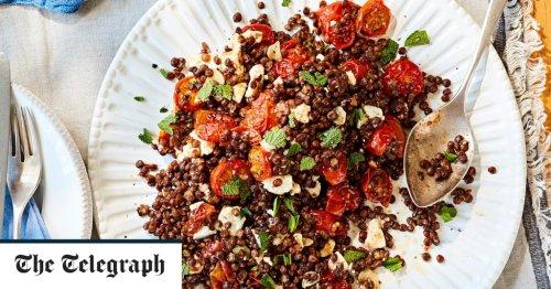 Tomato salad with lentils, feta and golden garlic recipe