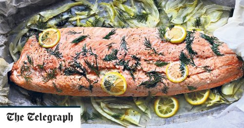 Whole roasted salmon with fennel and lemon recipe