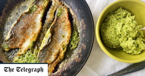 Sea bass with coriander, ginger and smoked garlic butter recipe