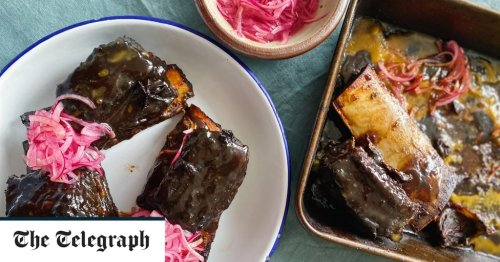 Sticky, coffee braised short ribs with quick pickled onions recipe