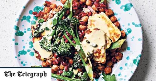 Spiced chickpeas with halloumi, broccoli and pomegranate recipe