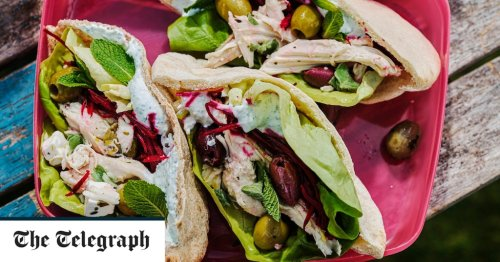 Chicken pittas with feta and olives recipe