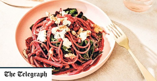 Beetroot spaghetti with dolcelatte, walnuts and chard recipe
