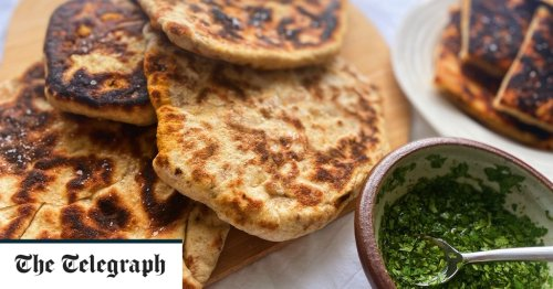 Feta and olive stuffed flatbreads with coriander dipping vinegar recipe