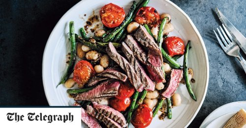Pan-fried steak with beans and mustard recipe