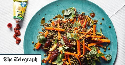 Lentil, carrot and date salad with mint and harissa recipe