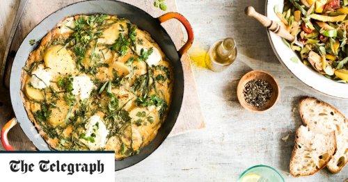 Samphire frittata with warm, lemony courgette salad recipe