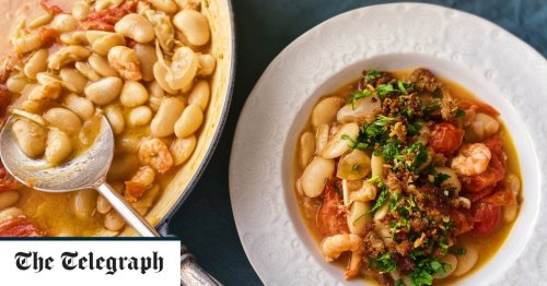 Prawns and white beans with gremolata breadcrumbs recipe