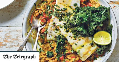 Steamed hake with green lentil dhal and kale recipe