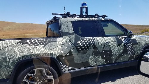Rivian R1T with LiDAR rig seen in Palo Alto where Driver+ is developed