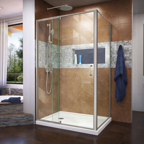 DreamLine Flex 48 in. x 72 in. Semi-Frameless Pivot Shower Door in Brushed Nickel Finish with 48 in. x 36 in. Base in White-DL-6719L-04CL - The Home Depot