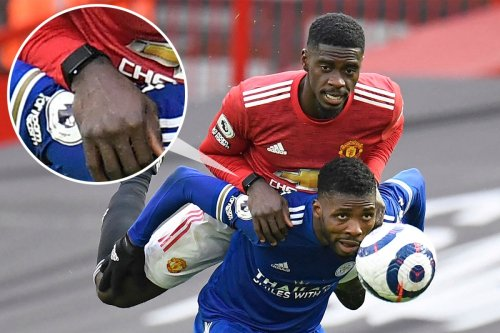 Axel Tuanzebe spotted wearing a smart strap as Man Utd fall to Leicester defeat