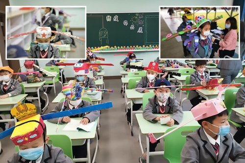 Schoolkids made to wear 1-meter wide hats to ensure social distancing in China
