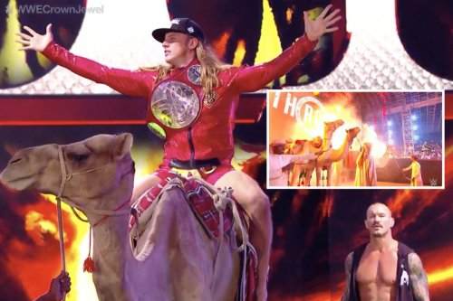 WWE fans torn after camels spotted near pyro & Riddle RIDES one at Crown Jewel