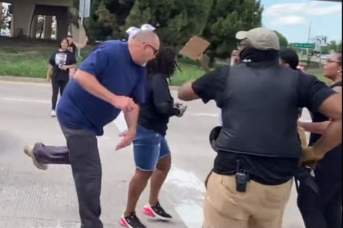 Furious driver confronts BLM protesters blocking major intersection
