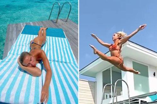 Love Island's Gabby Allen sunbathes in a thong bikini on Maldives holiday