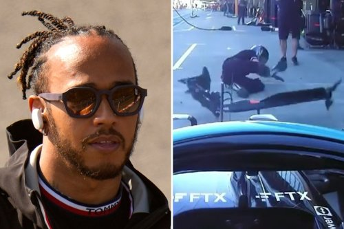 Hamilton sorry after wiping out mechanic as he misses Mercedes box in practice