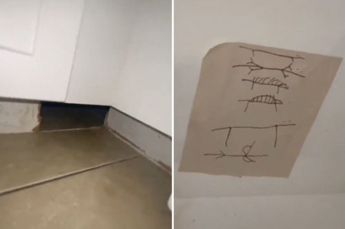 Woman terrified after finding creepy drawings hidden behind her kitchen cabinets