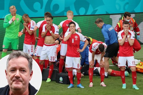 Piers Morgan leads tributes to Christian Eriksen after shock collapse as Holly Willoughby 'prays he is OK'
